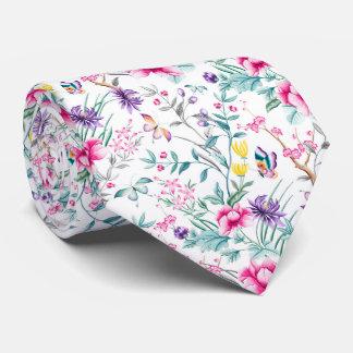 Vintage Flower Garden Rainbow Butterfly white Neck Tie
