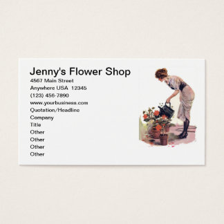 Vintage Flower Gardening Plant Care Landscaping Business Card
