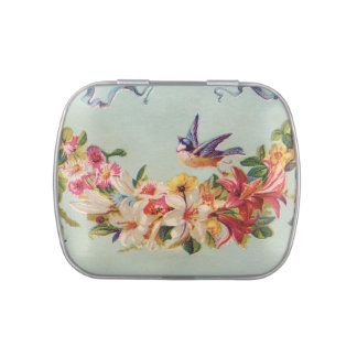 Vintage Flower Garland and Bird Jelly Belly Tins