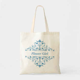 Vintage Flower Girl Blue Wedding Tote Bag