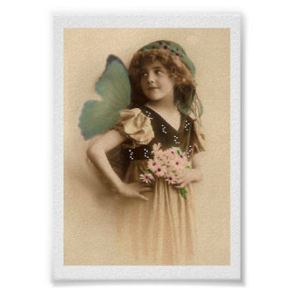 Vintage Flower Girl Butterfly Wings Art Print