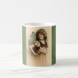 Vintage Flower Girl Butterfly Wings Coffee Cup Classic White Coffee Mug