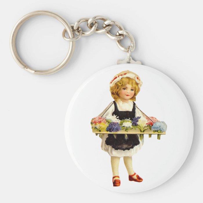 Vintage Flower Girl Keychain