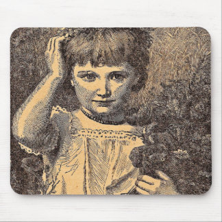 Vintage Flower Girl Mouse Pad