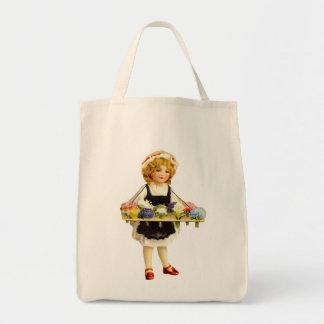 Vintage Flower Girl Organic Grocery Tote