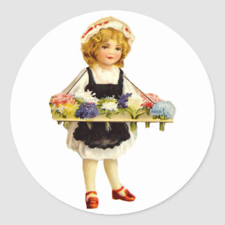 Vintage Flower Girl Sticker