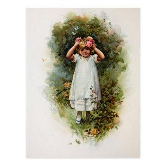 Vintage Flower Girl Wearing Wreath Postcard