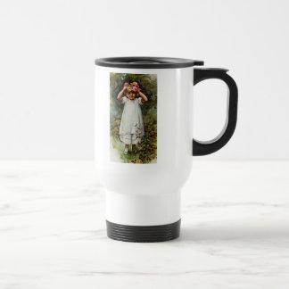 Vintage Flower Girl Wearing Wreath Travel Mug