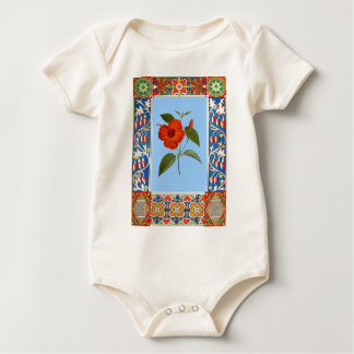 Vintage Flower Illustration And Border Baby Bodysuit
