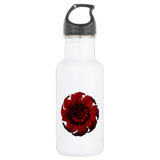 Vintage Flower in black and red Stainless Steel Water Bottle