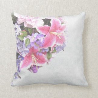 Vintage Flower Lilium Throw Pillow