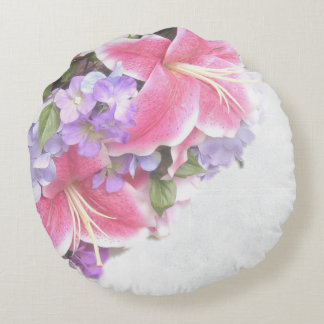Vintage Flower Lily Round Pillow