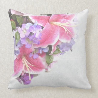 Vintage Flower Lily Throw Pillow