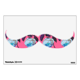 Vintage Flower Mustache Wall Decal