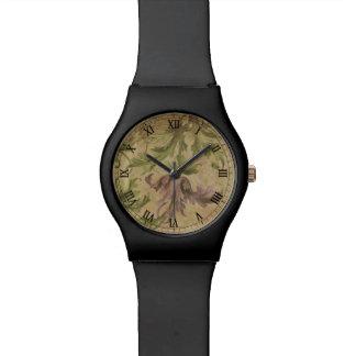 vintage flower old parchment renaissance wristwatch