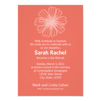 """Vintage Flower Orange Invitation 5"""" X 7"""" Invitation Card"""