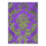 "Vintage Flower Party Invitation Purple Green 5"" X 7"" Invitation Card"