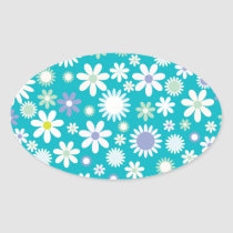 Vintage Flower Pattern Design Oval Sticker