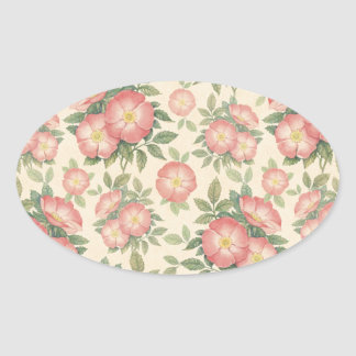 Vintage Flower Pattern Oval Sticker
