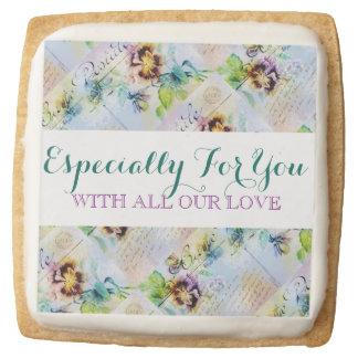 Vintage flower PERSONALIZE message Square Premium Shortbread Cookie