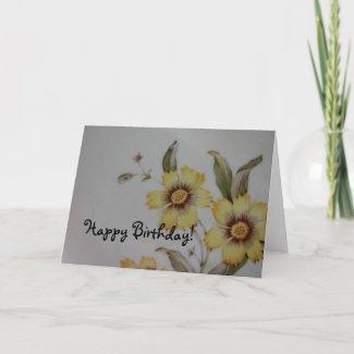 Vintage Flower Plate, Happy Birthday! card