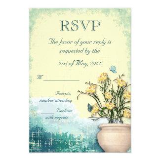 Vintage Flower Pot Butterfly Wedding RSVP Announcements