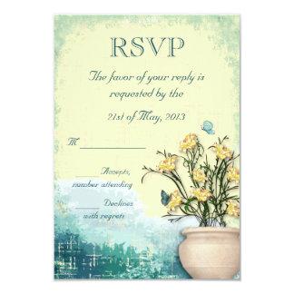 Vintage Flower Pot & Butterfly Wedding RSVP Announcements