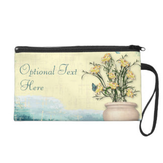 Vintage Flower Pot & Butterfly Wedding Wristlet Purse