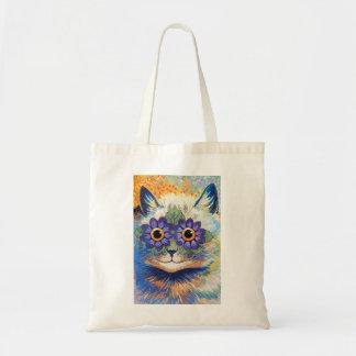 Vintage Flower Power Cat Art Bag