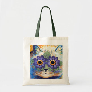 Vintage Flower Power Cat Art Tote Bag