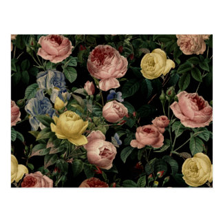 Vintage Flower Roses and Iris Pattern-Dark Dreams Postcard