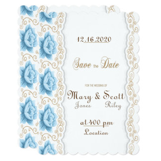 Vintage Flower Save the Date Card
