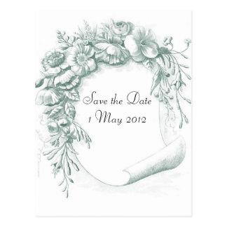 Vintage Flower Scroll Save the Date Postcard
