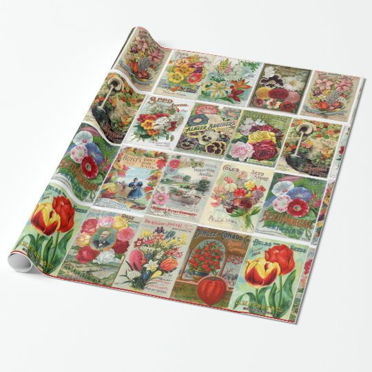 Vintage Flower Seed Catalog Collage Wrapping Paper