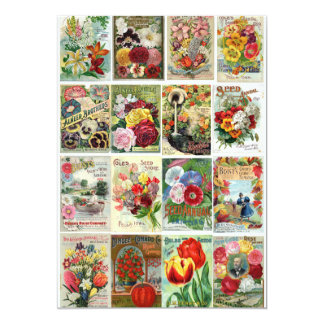 Vintage Flower Seed Catalogs Collage Card