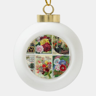 Vintage Flower Seed Catalogs Collage Ceramic Ball Christmas Ornament