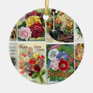 Vintage Flower Seed Catalogs Collage Ceramic Ornament