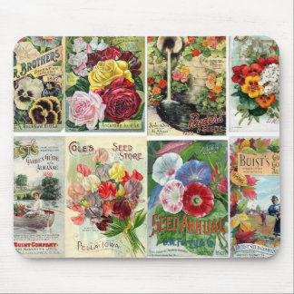 Vintage Flower Seed Catalogs Collage Mouse Pad