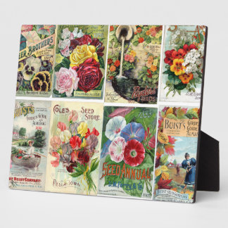 Vintage Flower Seed Catalogs Collage Display Plaque