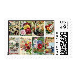 Vintage Flower Seed Catalogs Collage Postage