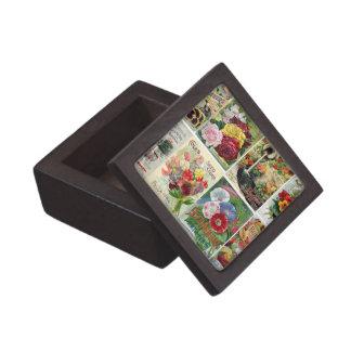 Vintage Flower Seed Catalogs Collage Premium Jewelry Box