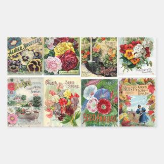 Vintage Flower Seed Catalogs Collage Rectangular Sticker
