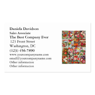 Vintage Flower Seed Packets Garden Collage Business Card