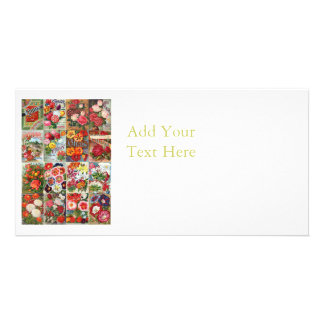 Vintage Flower Seed Packets Garden Collage Card