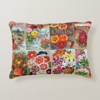 Vintage Flower Seed Packets Garden Collage Decorative Pillow