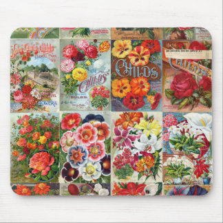 Vintage Flower Seed Packets Garden Collage Mouse Pad