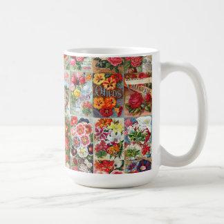 Vintage Flower Seed Packets Garden Collage Coffee Mug