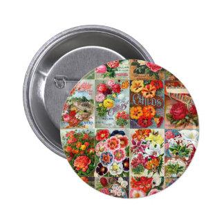 Vintage Flower Seed Packets Garden Collage Pinback Button