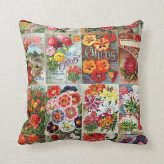 Vintage Flower Seed Packets Garden Collage Throw Pillow