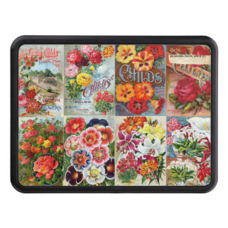 Vintage Flower Seed Packets Garden Collage Tow Hitch Covers